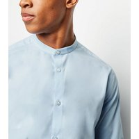 Mens Pale Blue Long Sleeve Collarless Poplin Shirt New Look