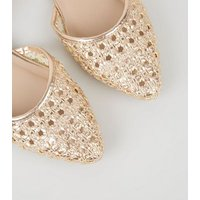 Rose Gold Metallic Woven Sandals New Look