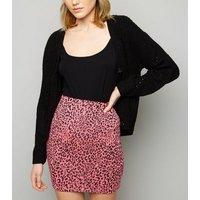 Pink Neon Leopard Print Tube Skirt New Look