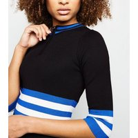 QED Black and Blue Stripe Waist Bodycon Dress New Look