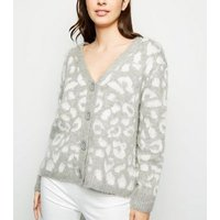Light Grey Leopard Pattern Button Up Cardigan New Look