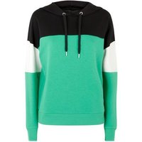 green-colour-block-hoodie-new-look