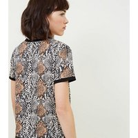 Black Snake Print T-Shirt New Look