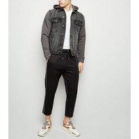 Men's Dark Grey Jersey Sleeve Denim Jacket New Look