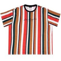 Plus Size Red Striped Los Angeles Slogan T-Shirt New Look