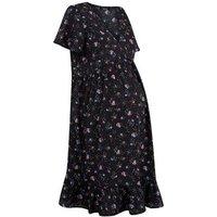 Maternity Black Floral Print Smock Dress New Look