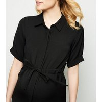 Maternity-Black-Twill-Nursing-Shirt-Dress-New-Look
