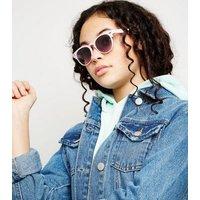 Girls Pink Round Square Sunglasses New Look