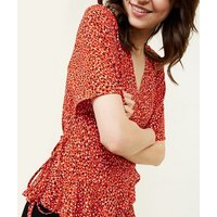 Red Leopard Print Frill Wrap Top New Look