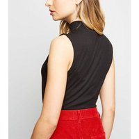 Black Ring Zip High Neck Sleeveless Top New Look