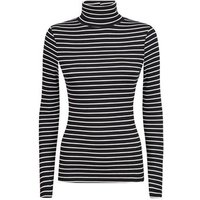 Black Stripe Ribbed Roll Neck Top New Look