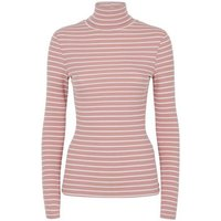 Pink Stripe Ribbed Roll Neck Top New Look