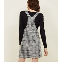 Black Mixed Houndstooth Check Pinafore Dress New Look