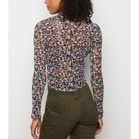 Black Ditsy Floral Ruched Mesh Crop Top New Look