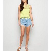 Yellow Crochet Scallop Hem Top New Look