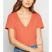 Coral Organic Cotton V Neck T-Shirt New Look