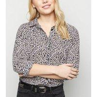 Petite Purple Leopard Print Shirt New Look