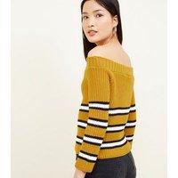 Cameo Rose Mustard Stripe Bardot Jumper New Look
