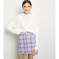 Girls Lilac Check Denim Skirt New Look