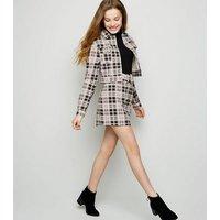 Girls Pink Check Belted Denim Skirt New Look
