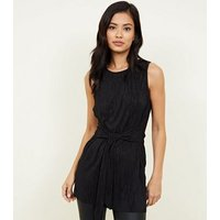 Black Crinkle Plissé Belted Tunic Top New Look