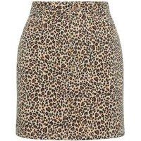 Petite Brown Leopard Print Denim Skirt New Look