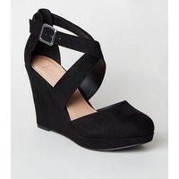 Wide Fit Black Suedette Wedge Heels New Look