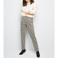 Tall Light Grey Check Pull On Trousers New Look