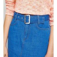 Girls Bright Blue Belted Denim Skirt New Look