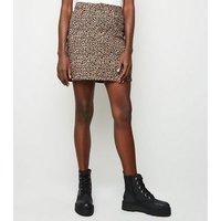 Tall Brown Leopard Print Denim Skirt New Look