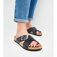 Black Faux Croc Cross Strap Footbed Sliders New Look