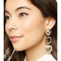 Gold Hammered Heart Drop Earrings New Look