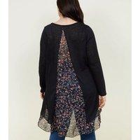 Blue Vanilla Curves Black Floral Chiffon Panel Fine Knit Top New Look