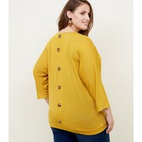 Blue Vanilla Curves Mustard Button Batwing Top New Look