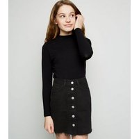 Girls Black Button Up Denim Skirt New Look