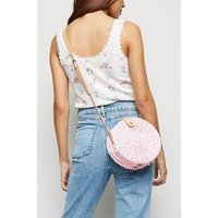 Pink Straw Effect Woven Round Bag New Look