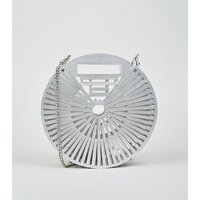 Silver Slatted Bamboo Round Shoulder Bag New Look