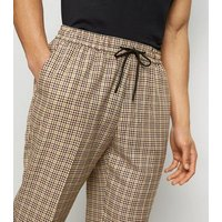 Brown Gingham Slim Crop Trousers New Look