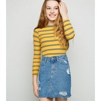 Girls Blue Ripped Denim Mom Skirt New Look