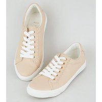 Wide Fit Nude Leather-Look Scallop Trim Trainers New Look