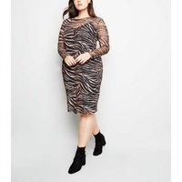 Curves-Black-Tiger-Print-Mesh-Midi-Dress-New-Look