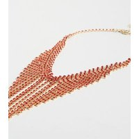 Red Diamante Waterfall Choker Necklace New Look