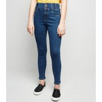 Girls Blue High Waist Skinny Jeans New Look