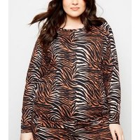 Curves Brown Tiger Print Soft Touch Sweatshirt New Look