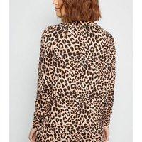 Maternity Brown Leopard Print Soft Touch Pyjama Sweatshirt New Look