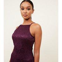 AX Paris Burgundy Lace Frill Hem Dress New Look