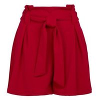 Red Scuba Paperbag Shorts New Look