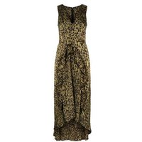 AX Paris Khaki Tiger Print Dip Hem Midi Dress New Look