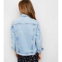 Girls Blue Ripped Oversized Denim Jacket New Look