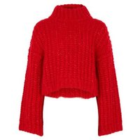 Girls Red High Neck Chunky Knit Jumper New Look